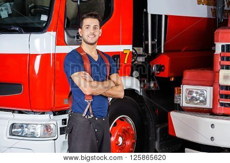 Confident Firefighter Standing Arms Crossed