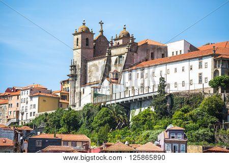 Igreja dos Grilos church on top of a hill in historic centre of Porto in Portugal.