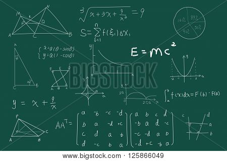 vector of green blackboard with math text