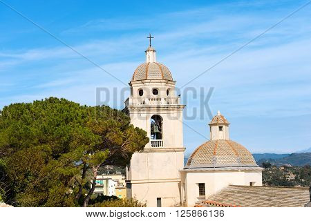 Bell tower and dome of the church of San Lorenzo (St. Lawrence) in Portovenere (UNESCO world heritage site) La Spezia Liguria Italy