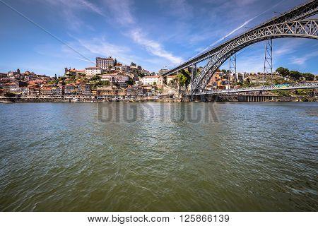 view of Dom Luis I bridge in Porto Portugal