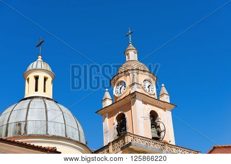 Detail of the church of San Terenzo (XVII century) typical coastal village in Liguria Lerici La Spezia - Italy