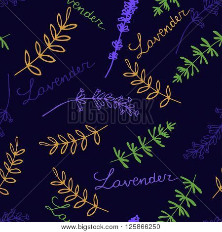 Lavender. Seamless pattern  on the blue background. Hand-drawn original background
