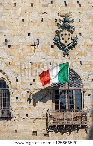 Detail of the palace of old people (Palazzo degli Anziani o di Giano) Town Hall of Pistoia Tuscany Italy - XIII - XIV century