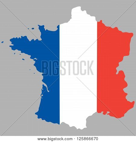 Map of France with an official national flag on white background vector illustration