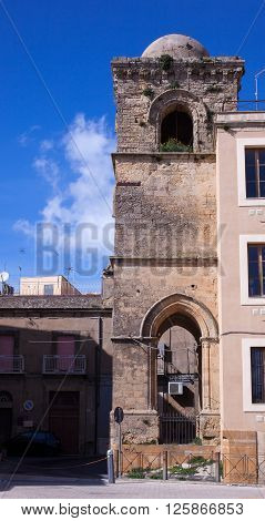 ENNA, ITALY - MARCH, 29: View of the tower called torre campionaria di San Giovanni on March 29, 2016