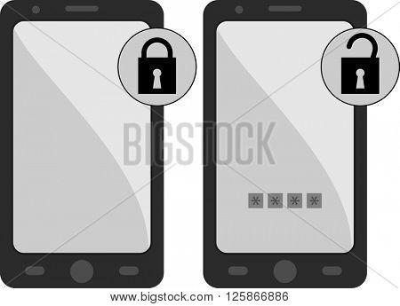 Smartphone Lock Unlock Vector Illustration
