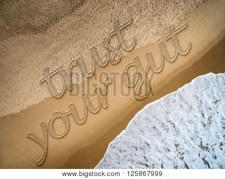 Trust Your Gut written on the beach
