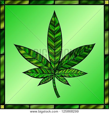Stunning cannabis leaf in stained-glass style in green.
