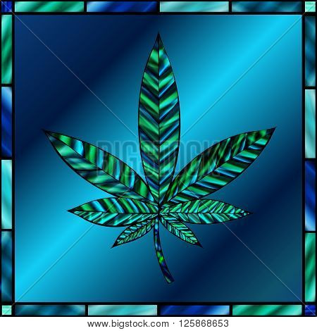 Stunning cannabis leaf in stained-glass style in shades of teal and blue.