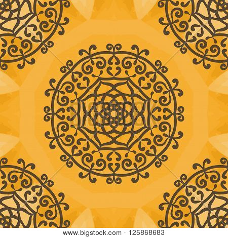 Arabesque Motif Print. Vintage decorative element on seamless texture. Hand drawn background. Islamic, Arabic, Indian, Asian, Ottoman motifs.