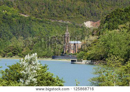 Chapel of Nossa Senhora das Victorias, neo-gothic church on the shores of Lagoa das Furnas, Sao Miguel, Azores