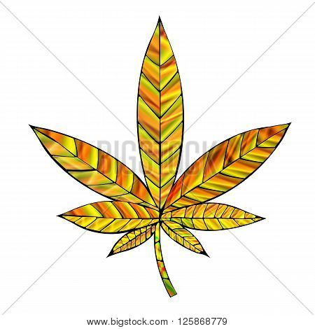 Stunning yellow gold cannabis leaf in stained-glass style isolated on white.