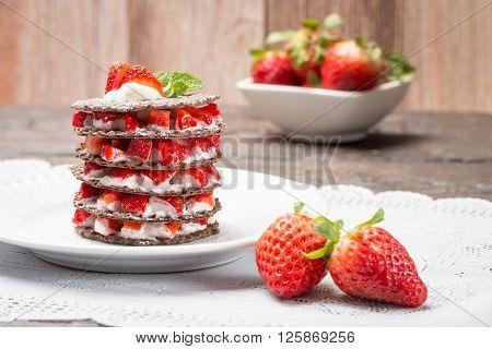 Strawberries Desert With Cream