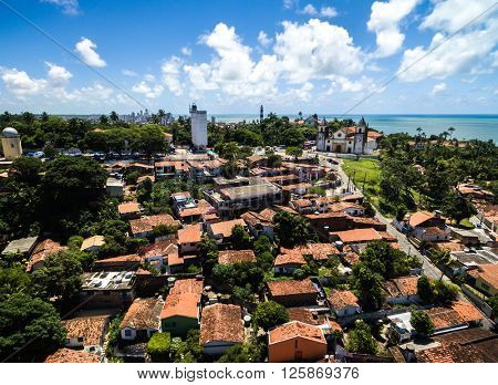 Aerial View of Olinda and Se Cathedral in Olinda, Recife, Brazil