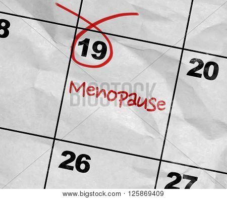 Concept image of a Calendar with the text: Menopause