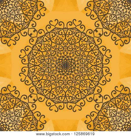 Mandala Indian Yoga Ornament, kaleidoscopic floral pattern, yantra. Seamless ornament lace.Oriental vector pattern. Islamic, Arabic, Indian, Turkish, Pakistan, Chinese, Asian, Moroccan, Ottoman motifs.
