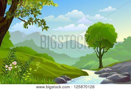 RIVER  THROUGH BEAUTIFUL HILLS AND MOUNTAIN