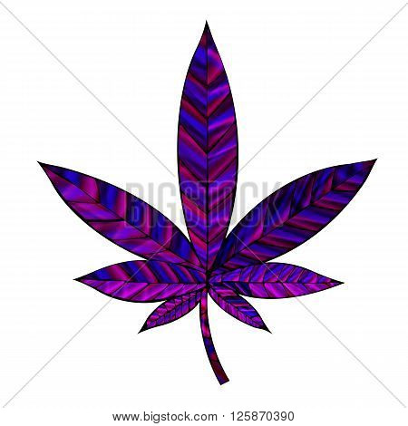 Stunning purple cannabis leaf in stained-glass style isolated on white.