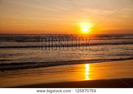 Tropical sunset at indian ocean Sri Lanka