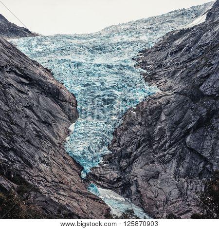 Briksdalsbreen glacier in Norway. Summer season.