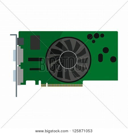 Flat hardware video card icon for repair service design. Vector illustration