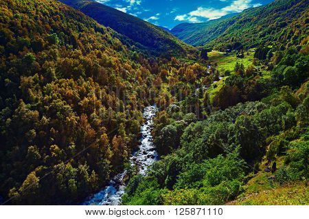 Norway landscape with mountain river and autumn forest
