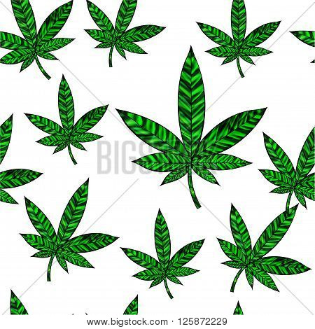 Stunning seamless cannabis leaf in stained-glass style isolated on white.