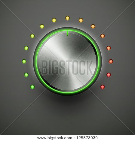 volume knob with metal texture and green red light eps10