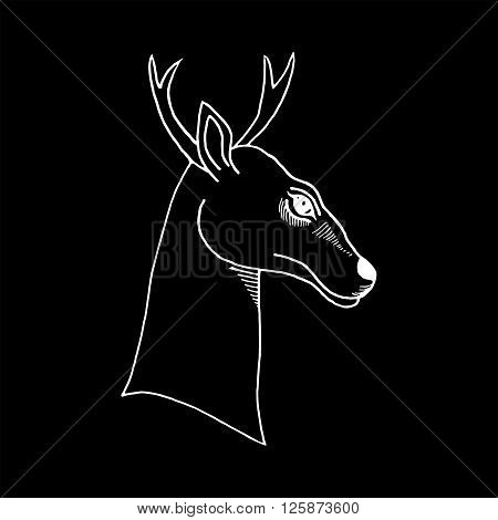 monochrome hand draw a deer head with antlers to use for printing on T-shirts, tattoos, icons, banners