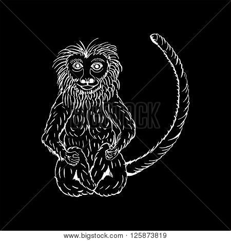 monochrome hand draw a monkey in the style of a sketch on a black white background, used for banners, flyers, coloring books, tattoo