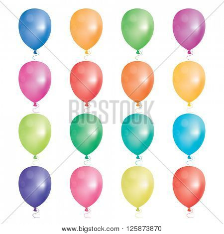 Set of 16 party balloons. Vector illustration. Balloons different colors isolated on white background.