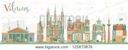 Abstract Vilnius Skyline with Color Landmarks. Vector Illustration. Business Travel and Tourism Concept with Historic Buildings. Image for Presentation Banner Placard and Web Site.