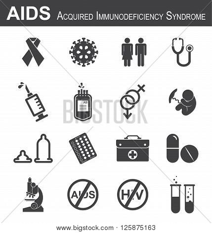 AIDS icon( red ribbon , HIV virus , man ,  woman , stethoscope , syringe , needle , blood bag , male , female  , fetal , condom , birth control or contraception pills , medical bag , antiviral drug , microscope , test tube )