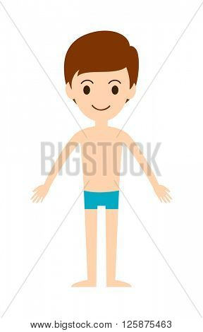 Swimming boy freestyle summer fun swim pool leisure activity character vector illustration.
