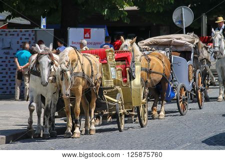 Lviv Ukraine - July 5 2014: Tourist carriage waiting for passengers on the streets in historic city center