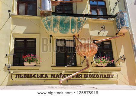 Lviv Ukraine - July 5 2014: Facade of Lviv Handmade Chocolate in historic city centre