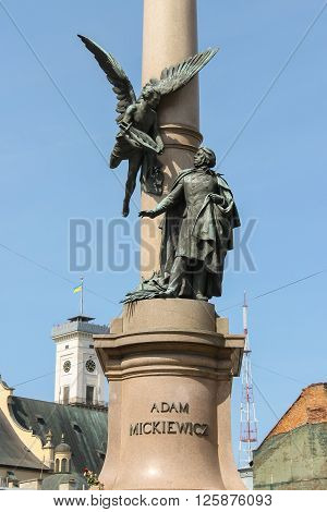 Adam Mickiewicz Monument in historic city center. Lviv Ukraine