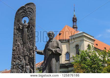 Shevchenko Monument in historic city center. Lviv Ukraine