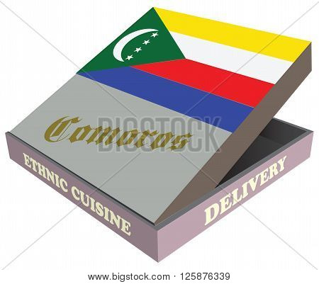 Delivery Ethnic cuisine Comoros. Cardboard packaging. Vector illustration.