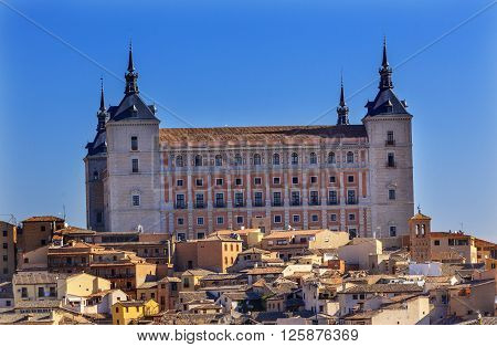 Alcazar Fortress Medieval City Toledo Spain. Alcazar built in the 1500s Destroyed in Spanish Civil War and then rebuilt after war. Unesco historical site