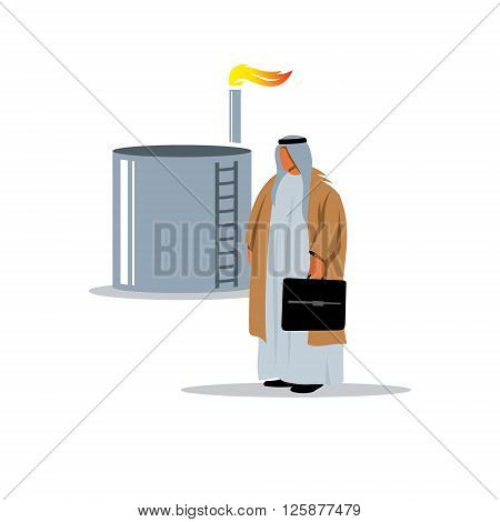 Arab sheikh near the oil and gas storage facilities in traditional clothing.