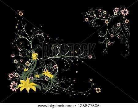 Curly pattern of flowers and petals on the black background