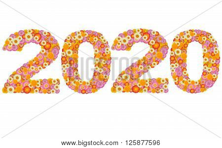 New year 2020 made from straw flowers
