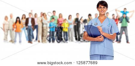 Smiling nurse and people group.