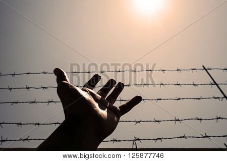 Silhouette hand extending to the sky with barbwire and sunlight, vintage tone