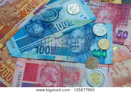 South African Rand currency and coins background