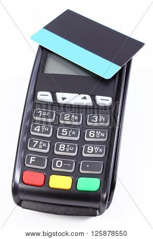 Payment terminal credit card reader with contactless credit card on white background