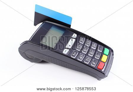 Payment terminal credit card reader with credit card on white background cashless paying for shopping finance concept