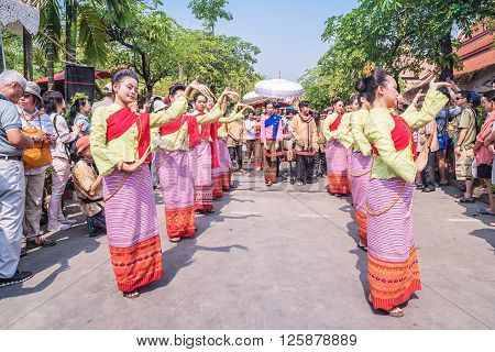 CHIANG MAI THAILAND - APRIL 13: Unidentified Thai woman dancer in Phrasing temple in Songkran Festival (Thailand new year) on April 132016 in Chiang Mai Thailand.